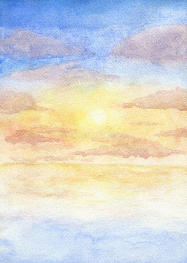 日落的手画水彩例证在海的有多云天空的 向量 皇族释放例证