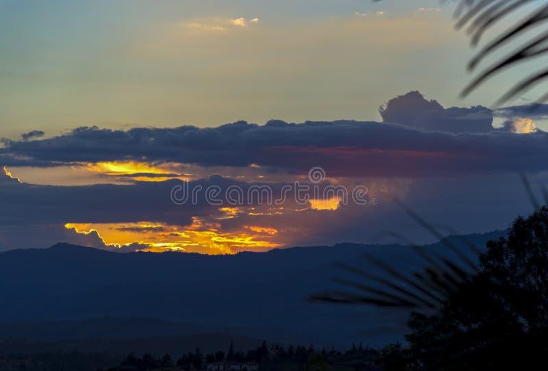 日落的最后阶段的多esposure 图库摄影