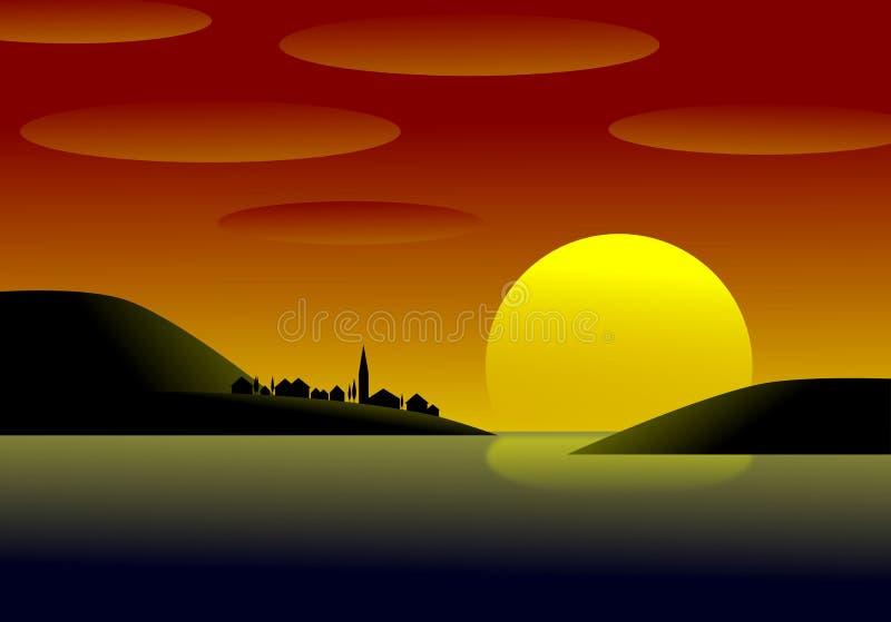 日落的村庄 向量例证
