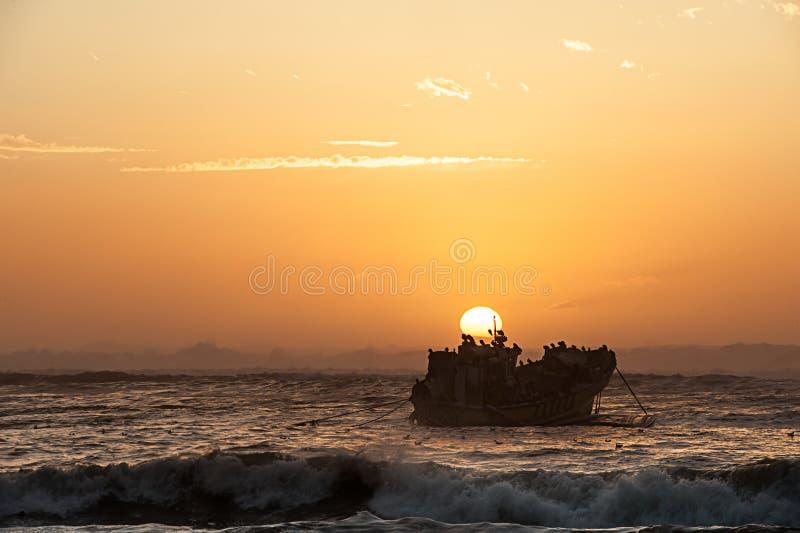 日落的柔和曲调的图象与船击毁和海鸟群的现出轮廓反对日落 库存照片