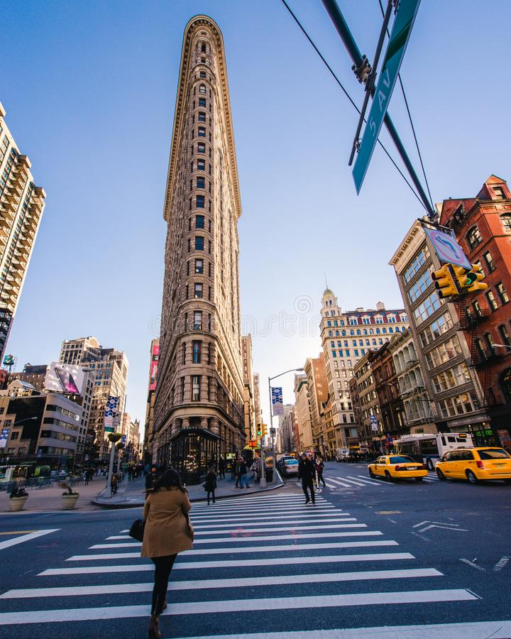 日落的熨斗大厦在曼哈顿,纽约 库存照片