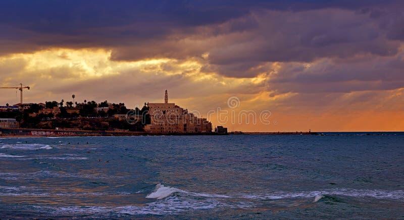 日落的特拉唯夫贾法角,以色列 库存图片
