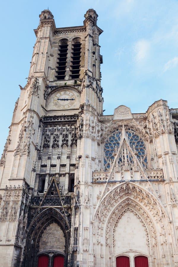 日落的特鲁瓦大教堂 库存图片