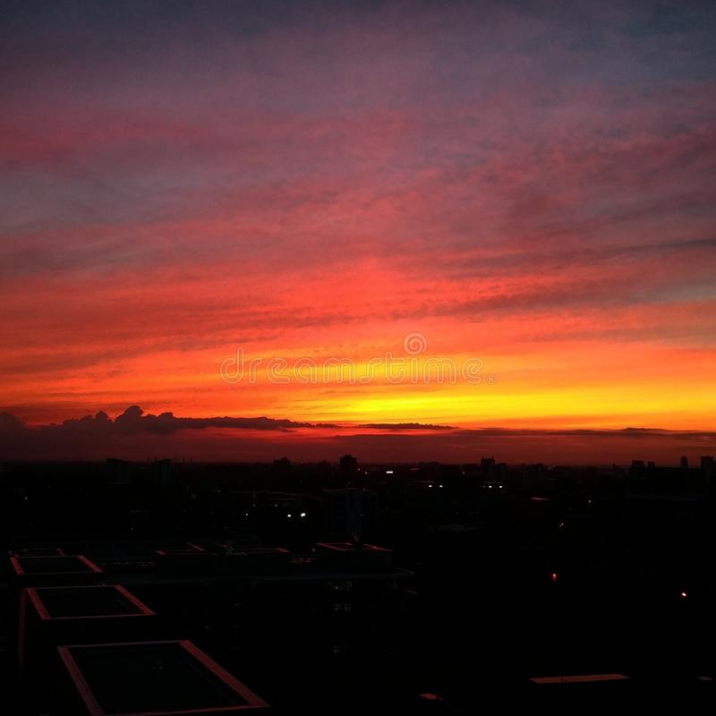 日落的看法从曼彻斯特的 免版税图库摄影