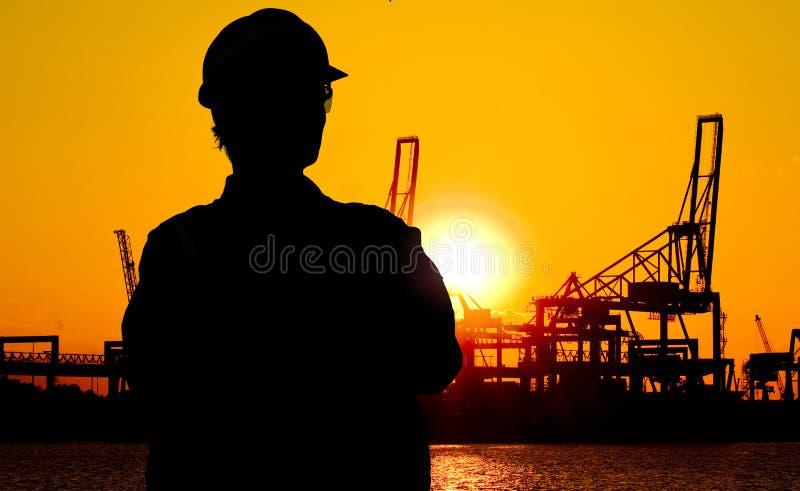 日落的码头工人 免版税库存照片