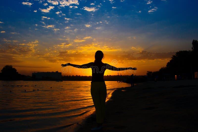 日落的美丽的女孩 免版税库存照片