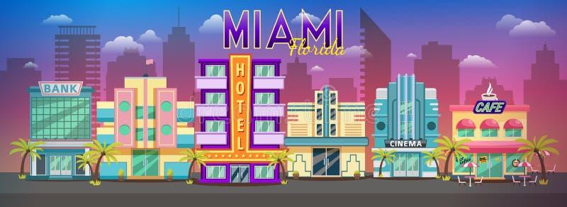 日落的老迈阿密地平线全景 减速火箭的城市减速火箭的都市风景,减速火箭的背景迈阿密佛罗里达地平线 皇族释放例证
