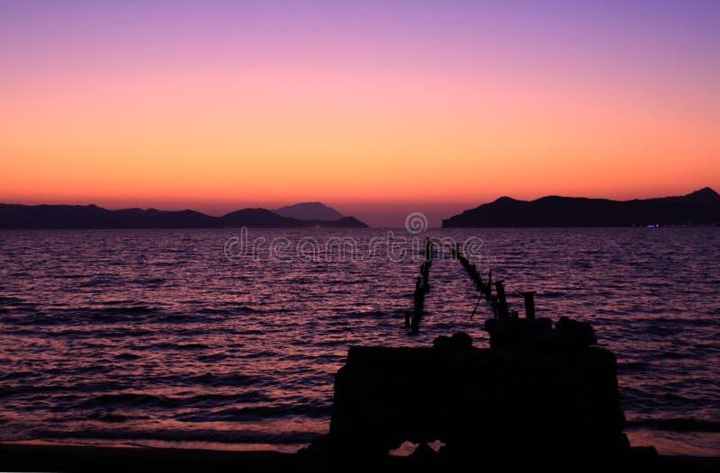 日落的芦粟海岛 免版税库存照片