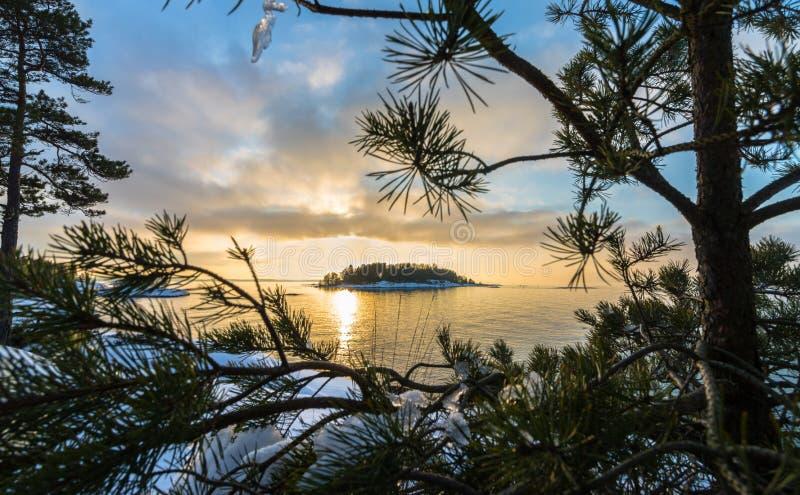 日落的被构筑的海岛 库存图片