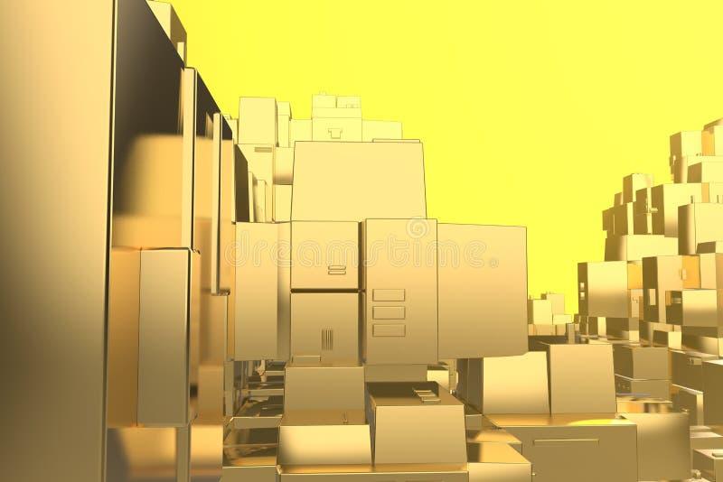 日落的财富富有的概念想法金黄城市发出光线抽象空间背景 3D例证翻译 库存例证
