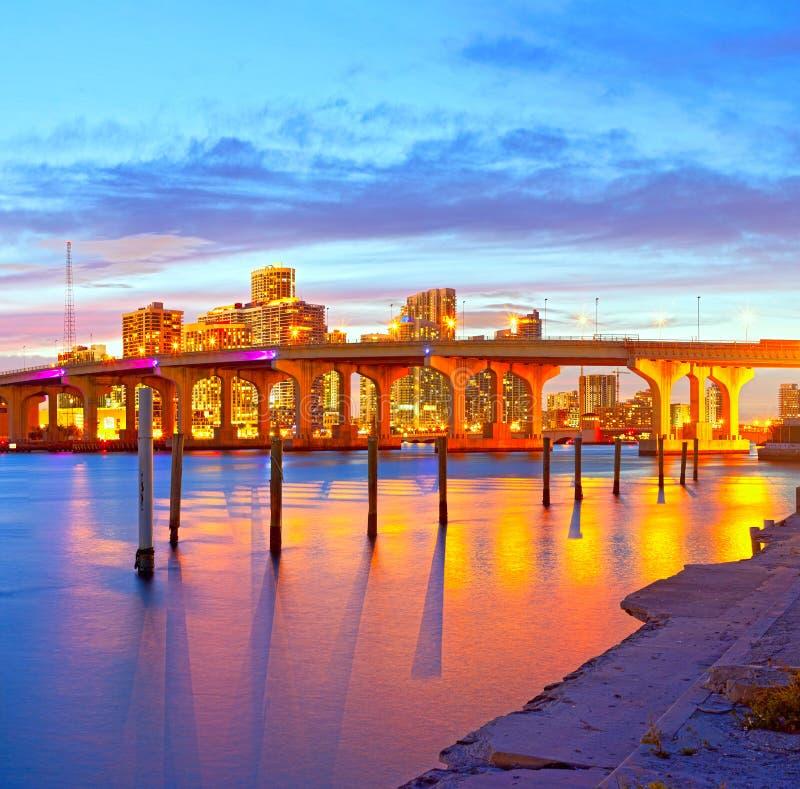 日落的迈阿密佛罗里达 库存照片