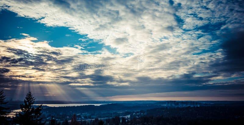 日落的迷人的风景在西雅图 库存照片
