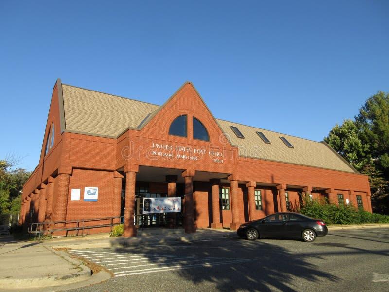 日落的邮局在波托马克马里兰 库存照片