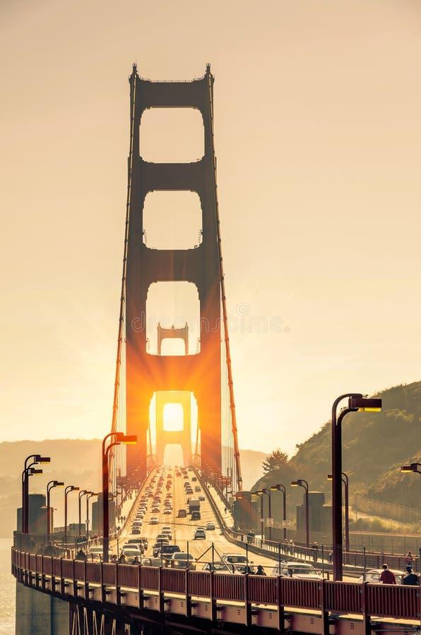 日落的金门大桥-旧金山 免版税图库摄影