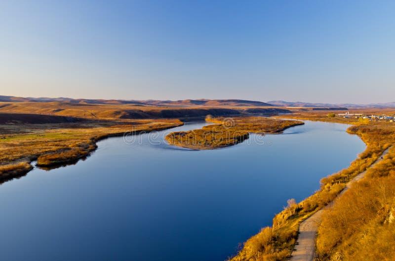 日落的额尔古纳河 库存图片