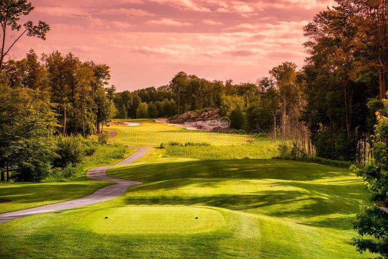 日落的高尔夫球场 免版税库存图片