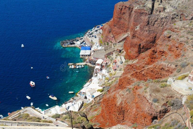 日落的,从Oia村庄,圣托里尼,希腊的观点圣托里尼海岛 库存照片
