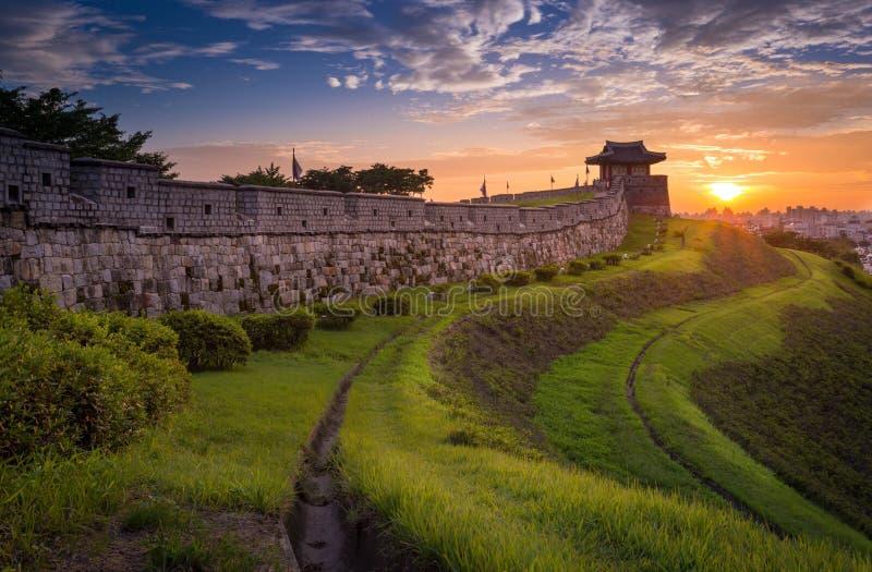 日落的,传统建筑学华城 免版税库存图片