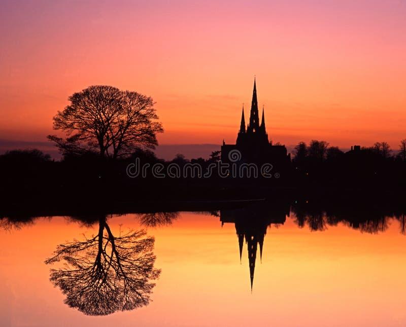 日落的,利奇菲尔德,英国大教堂。 图库摄影