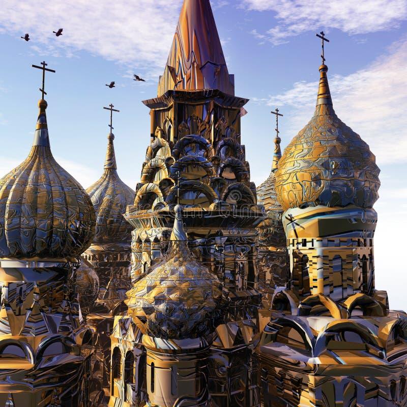 日落的幻想宫殿 向量例证