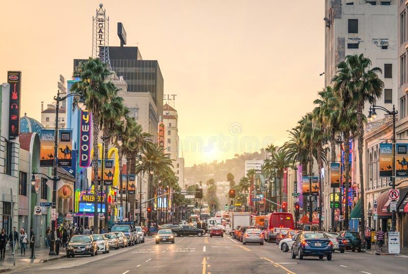 日落的-洛杉矶好莱坞大道-名望步行  库存图片