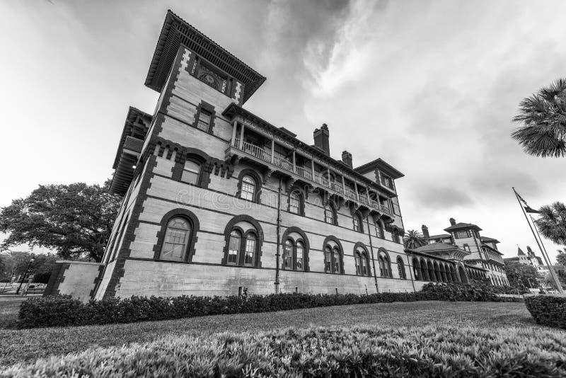 日落的Flagler学院,圣奥斯丁 免版税库存照片