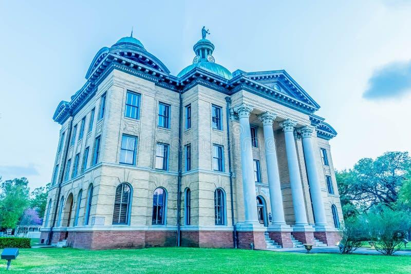 日落的Fort Bend县法院大楼 免版税库存照片