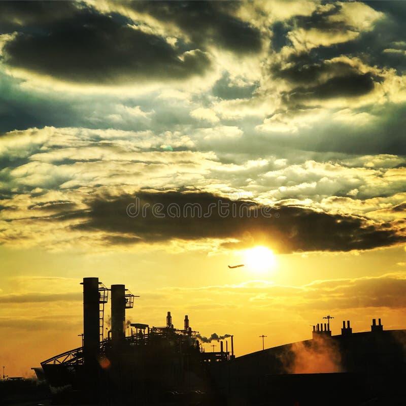 日落的JFK终端 免版税图库摄影