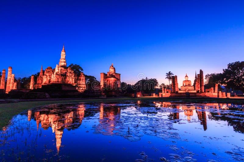 日落的Sukhothai历史公园,泰国 免版税库存照片