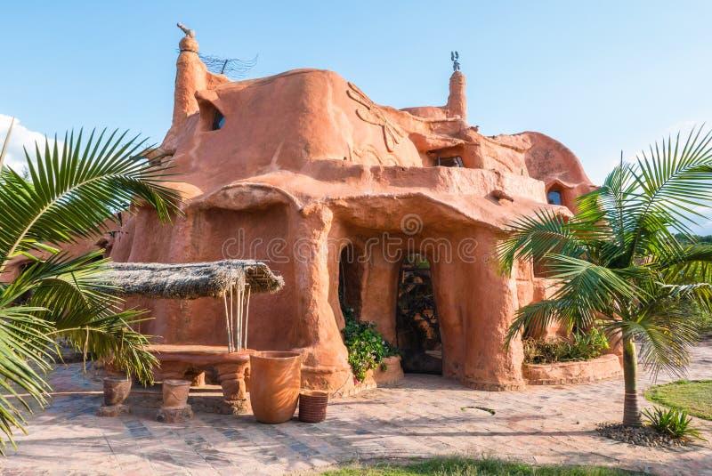 日落的Villa de莱瓦哥伦比亚赤土陶器房子 库存照片
