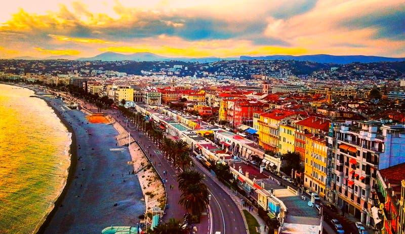 日落看法海上地中海,天使海湾,彻特d ` Azur,法国海滨,尼斯,法国的 库存图片