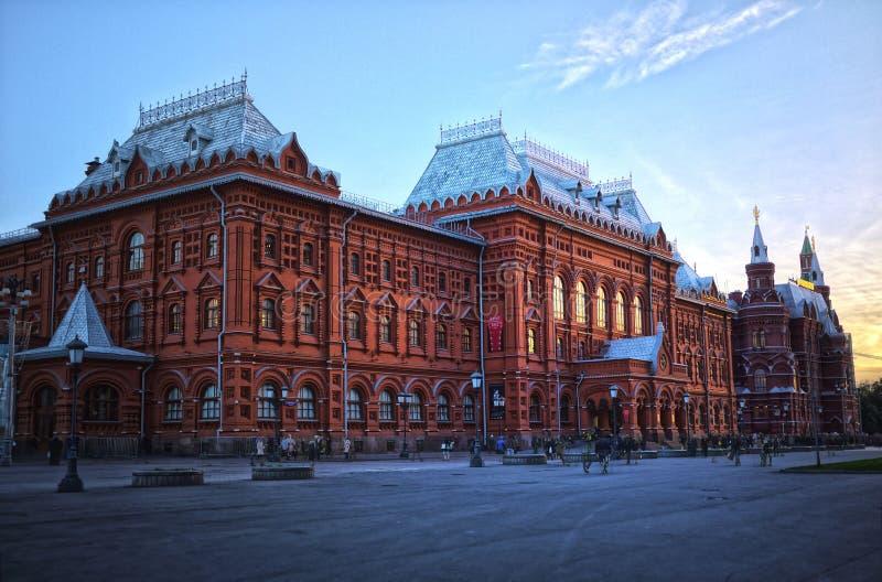 日落红场外在莫斯科 免版税库存图片