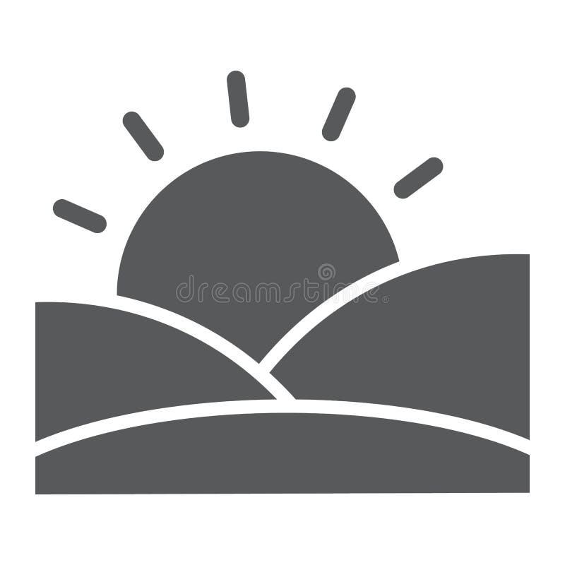日落纵的沟纹象、太阳和阳光,黎明标志,向量图形,在白色背景的一个坚实样式 皇族释放例证