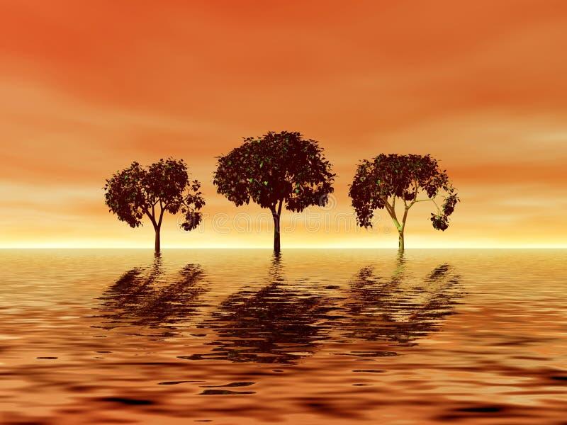 日落结构树三重奏 向量例证