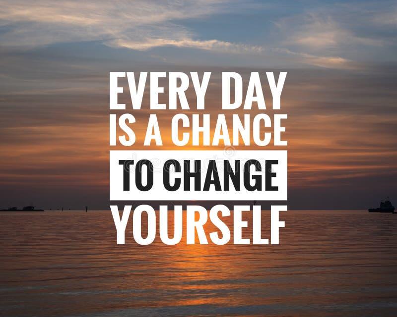 日落背景中的励志引文 — 每天都是改变自己的机会 免版税库存照片