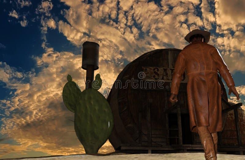 日落背景的在交谊厅前面- 3D牛仔翻译 库存例证