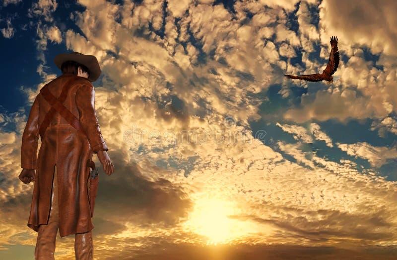 日落背景的牛仔与老鹰 皇族释放例证