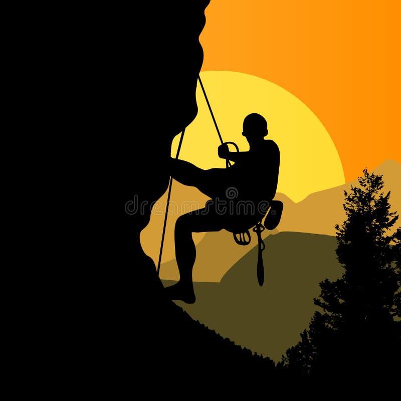 日落背景的登山人 皇族释放例证