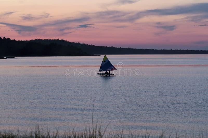 日落苏必利尔湖, Marquette,密执安 图库摄影