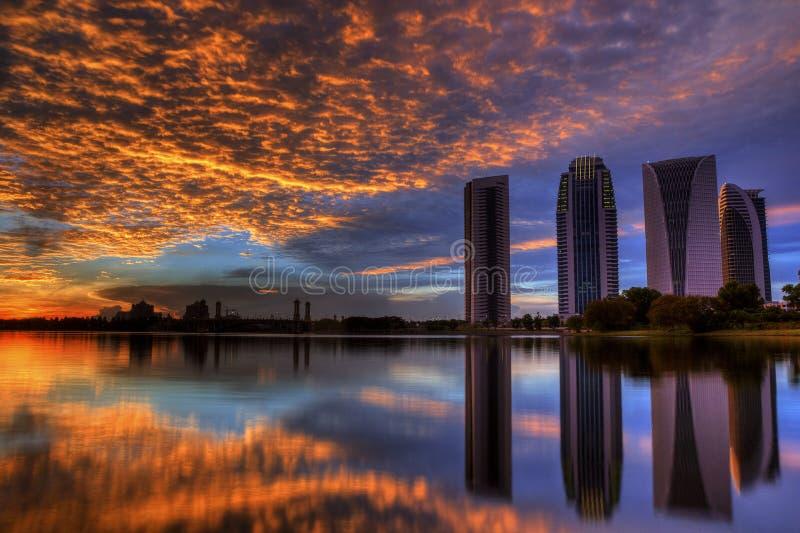 日落视图的布城 免版税图库摄影