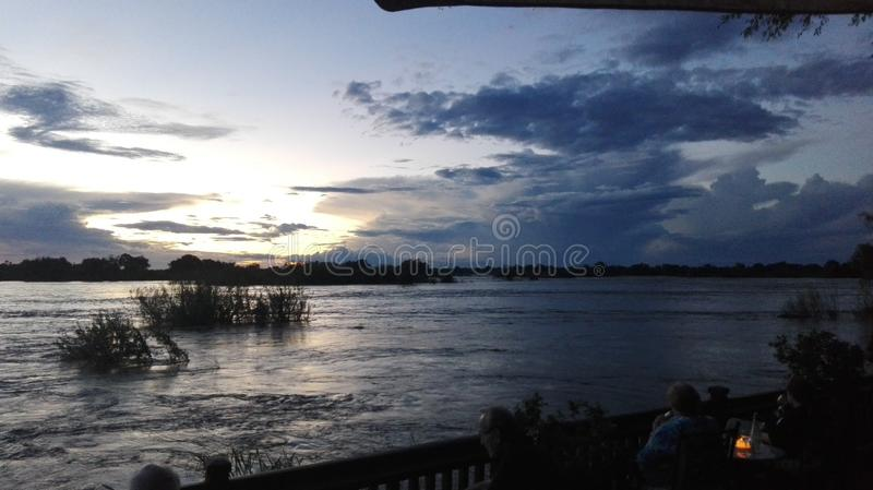 日落赞比西河赞比亚 免版税图库摄影