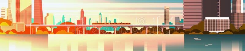 日落都市全景有高摩天大楼的和地铁都市风景的城市在河背景水平的横幅 向量例证