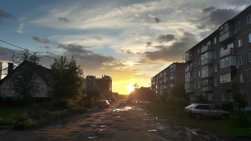 日落都市风景  图库摄影