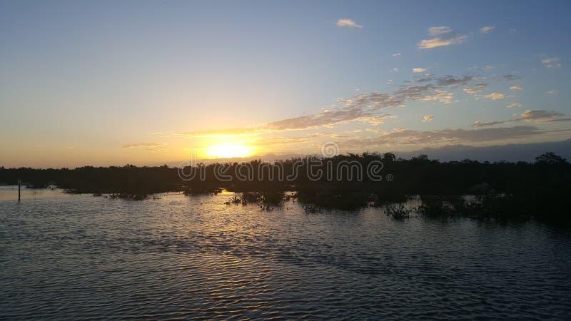 日落降低佛罗里达群岛 库存照片