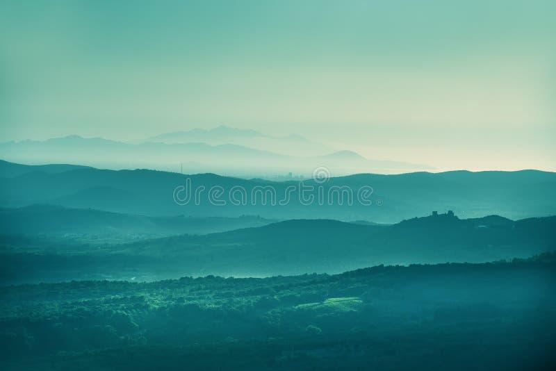 日落风景托斯卡纳 图库摄影