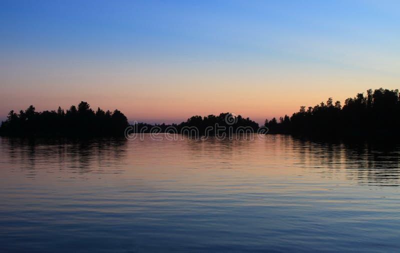 日落,伍兹湖, Kenora,安大略 免版税图库摄影