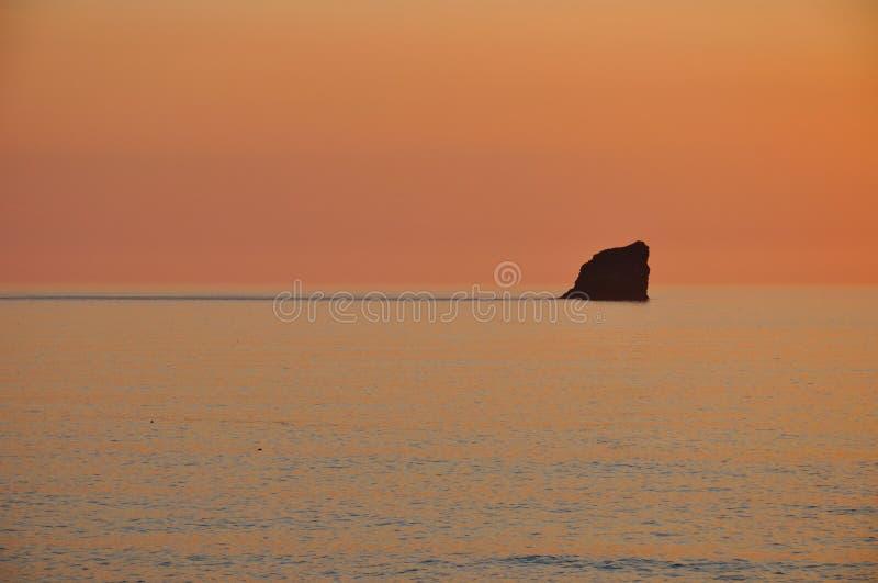 日落,圣艾格尼丝,康沃尔郡 库存图片