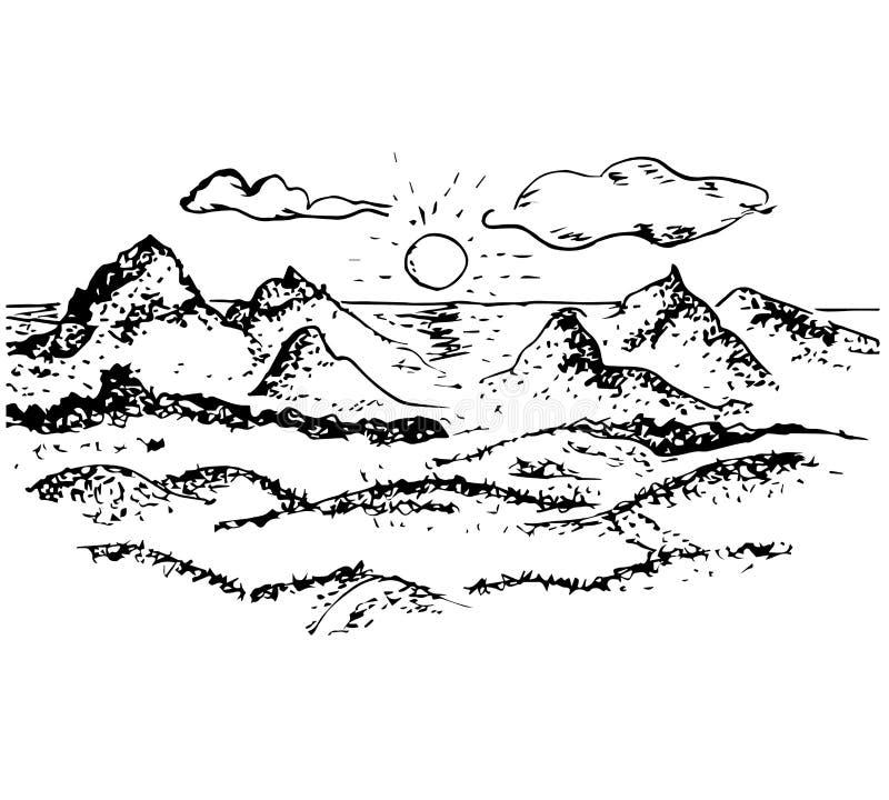 日落,山,太阳,云彩,传染媒介概述 如图解画 山风景,村庄 皇族释放例证