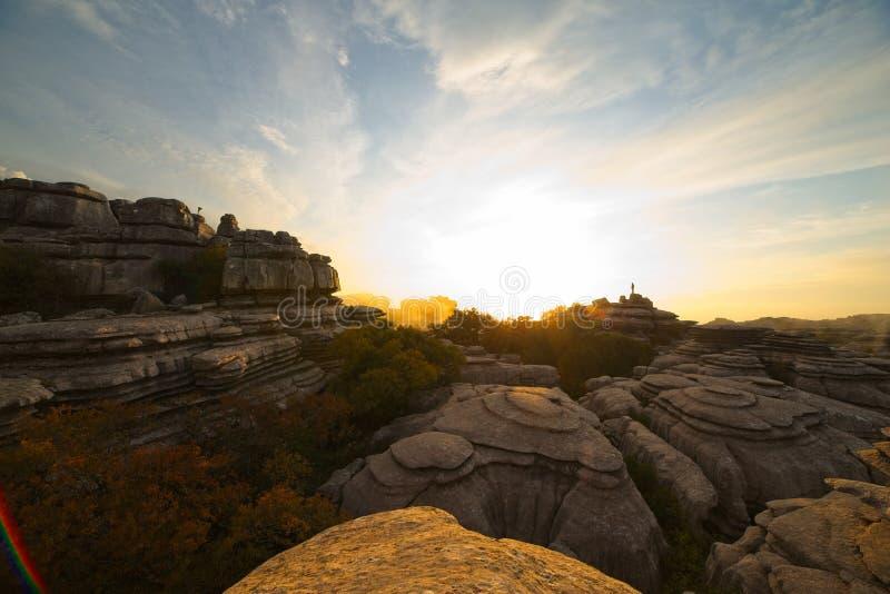 日落,日出,在西班牙安达卢西亚马拉加的El Torcal de Antequera自然公园 免版税图库摄影
