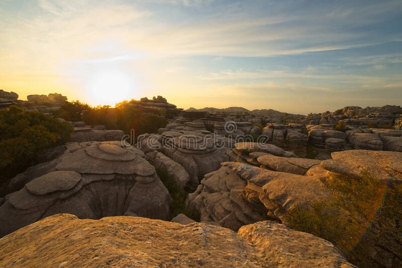 日落,日出,在西班牙安达卢西亚马拉加的El Torcal de Antequera自然公园 库存照片